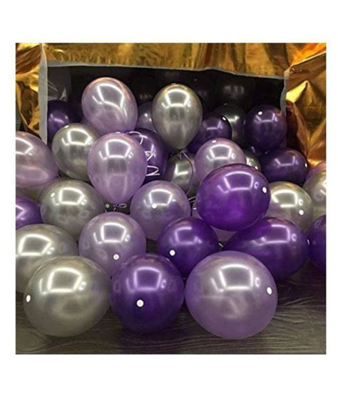 Metallic Balloons ( Purple&Silver) for decoration pack of