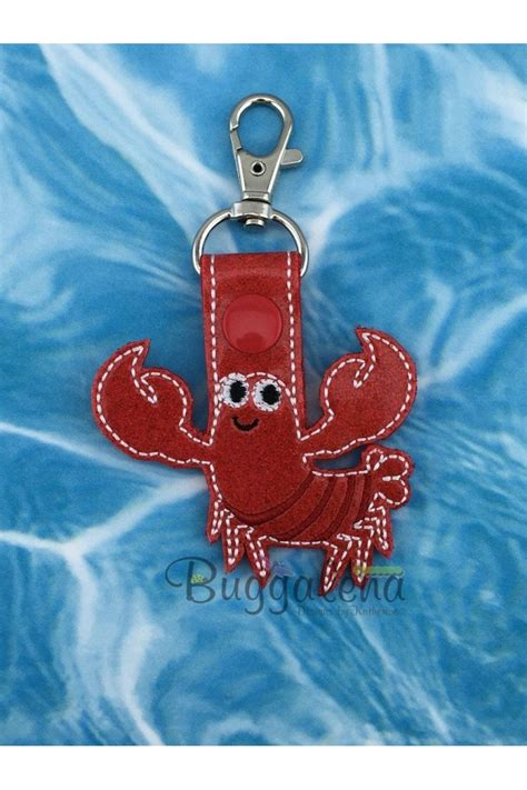 Lobster Key Fob Embroidery Design Snap Tab